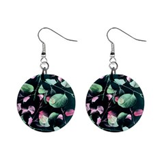 Modern Green And Pink Leaves Mini Button Earrings by DanaeStudio