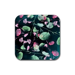 Modern Green And Pink Leaves Rubber Coaster (square)  by DanaeStudio