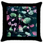 Modern Green And Pink Leaves Throw Pillow Case (Black)