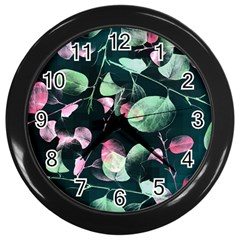Modern Green And Pink Leaves Wall Clocks (black) by DanaeStudio