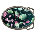 Modern Green And Pink Leaves Belt Buckles