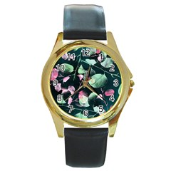 Modern Green And Pink Leaves Round Gold Metal Watch by DanaeStudio