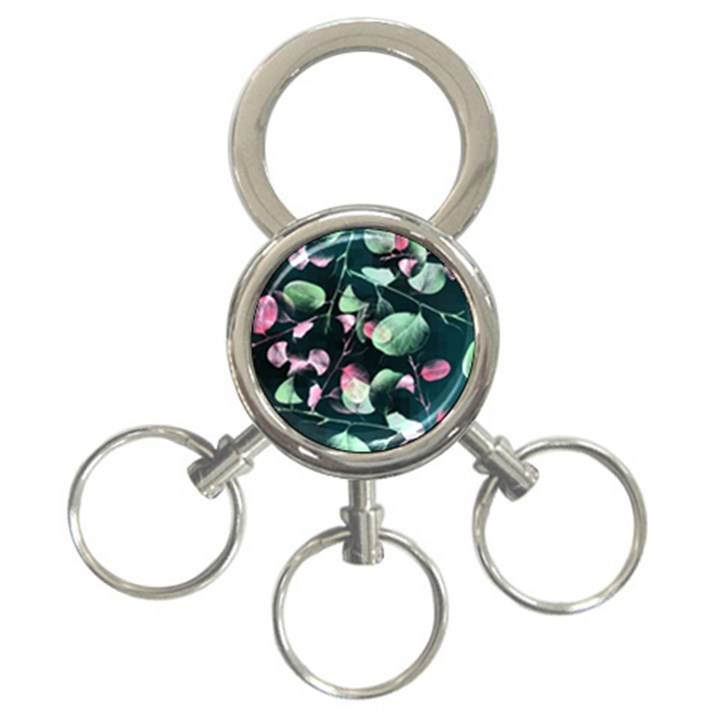 Modern Green And Pink Leaves 3-Ring Key Chains