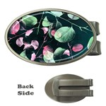 Modern Green And Pink Leaves Money Clips (Oval)