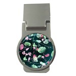 Modern Green And Pink Leaves Money Clips (Round)