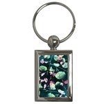 Modern Green And Pink Leaves Key Chains (Rectangle)