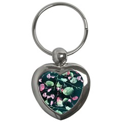 Modern Green And Pink Leaves Key Chains (heart)