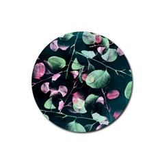 Modern Green And Pink Leaves Rubber Round Coaster (4 Pack)  by DanaeStudio
