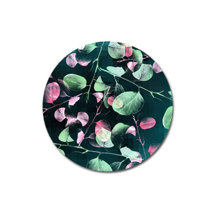 Modern Green And Pink Leaves Magnet 3  (Round)