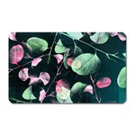 Modern Green And Pink Leaves Magnet (Rectangular)