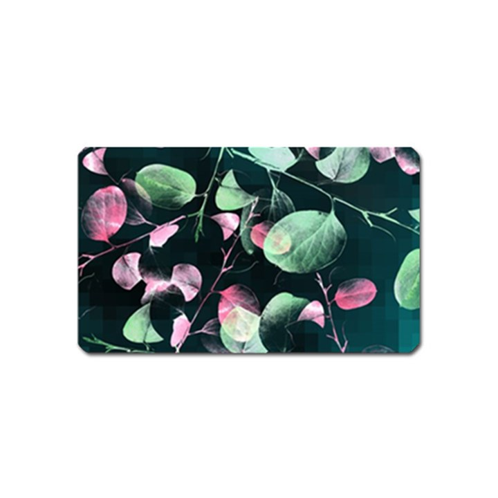Modern Green And Pink Leaves Magnet (Name Card)