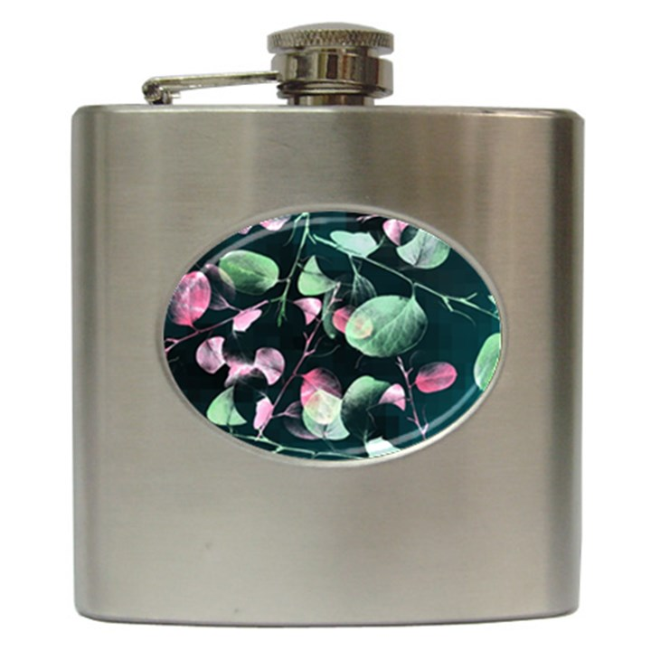 Modern Green And Pink Leaves Hip Flask (6 oz)