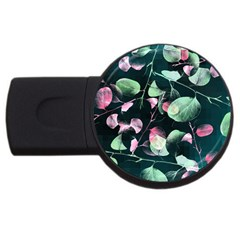 Modern Green And Pink Leaves Usb Flash Drive Round (2 Gb)  by DanaeStudio