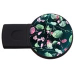 Modern Green And Pink Leaves USB Flash Drive Round (2 GB)