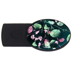 Modern Green And Pink Leaves Usb Flash Drive Oval (2 Gb)