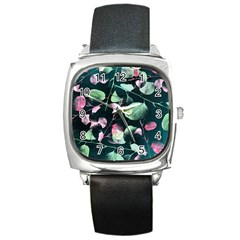 Modern Green And Pink Leaves Square Metal Watch