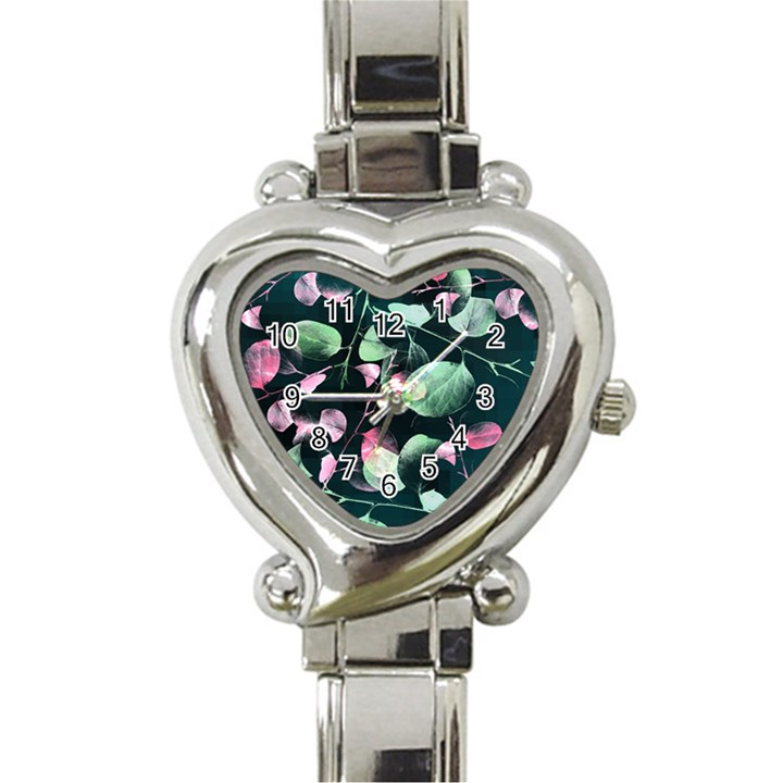 Modern Green And Pink Leaves Heart Italian Charm Watch