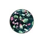 Modern Green And Pink Leaves Hat Clip Ball Marker (4 pack) Front