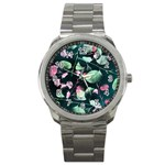 Modern Green And Pink Leaves Sport Metal Watch Front