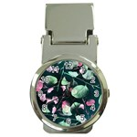 Modern Green And Pink Leaves Money Clip Watches