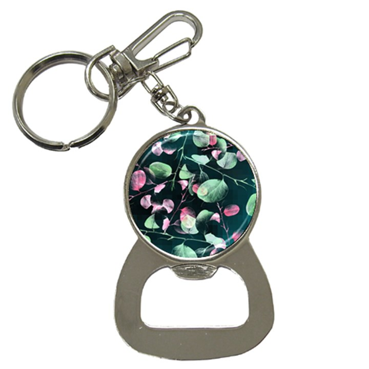 Modern Green And Pink Leaves Bottle Opener Key Chains