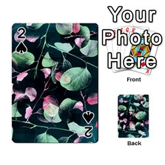 Modern Green And Pink Leaves Playing Cards 54 Designs  by DanaeStudio