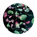 Modern Green And Pink Leaves Round Ornament (Two Sides)