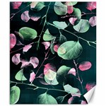 Modern Green And Pink Leaves Canvas 8  x 10