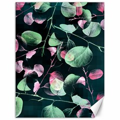 Modern Green And Pink Leaves Canvas 12  x 16
