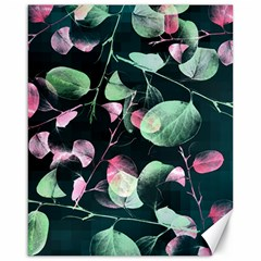Modern Green And Pink Leaves Canvas 16  X 20   by DanaeStudio