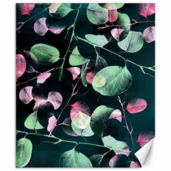Modern Green And Pink Leaves Canvas 20  X 24   by DanaeStudio