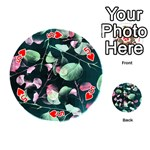 Modern Green And Pink Leaves Playing Cards 54 (Round)  Front - Heart5