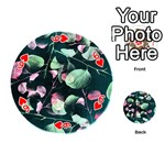 Modern Green And Pink Leaves Playing Cards 54 (Round)  Front - Heart6