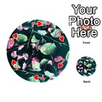 Modern Green And Pink Leaves Playing Cards 54 (Round)  Front - Heart7