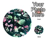 Modern Green And Pink Leaves Playing Cards 54 (Round)  Front - Club9