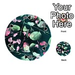 Modern Green And Pink Leaves Playing Cards 54 (Round)  Front - Spade8