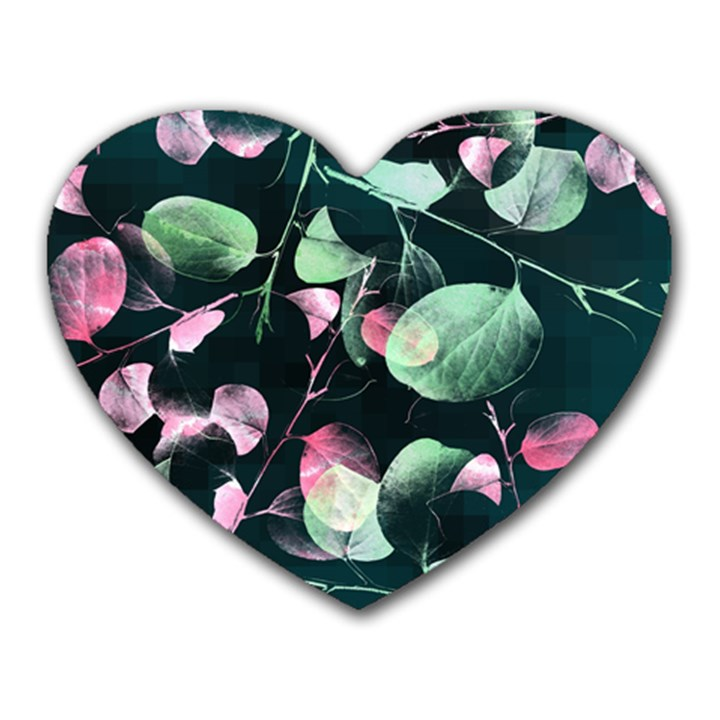 Modern Green And Pink Leaves Heart Mousepads