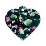 Modern Green And Pink Leaves Dog Tag Heart (Two Sides)