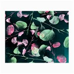 Modern Green And Pink Leaves Small Glasses Cloth (2-Side)