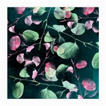 Modern Green And Pink Leaves Medium Glasses Cloth (2-Side)
