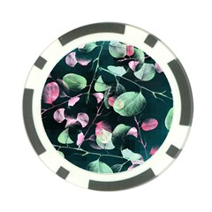 Modern Green And Pink Leaves Poker Chip Card Guards