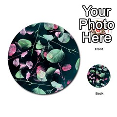 Modern Green And Pink Leaves Multi Purpose Cards (round)