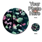 Modern Green And Pink Leaves Multi-purpose Cards (Round)  Back 28