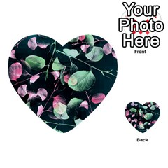 Modern Green And Pink Leaves Multi Purpose Cards (heart)