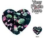 Modern Green And Pink Leaves Multi-purpose Cards (Heart)  Back 15