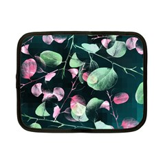 Modern Green And Pink Leaves Netbook Case (Small)