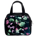 Modern Green And Pink Leaves Classic Handbags (2 Sides) Front
