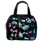 Modern Green And Pink Leaves Classic Handbags (2 Sides) Back