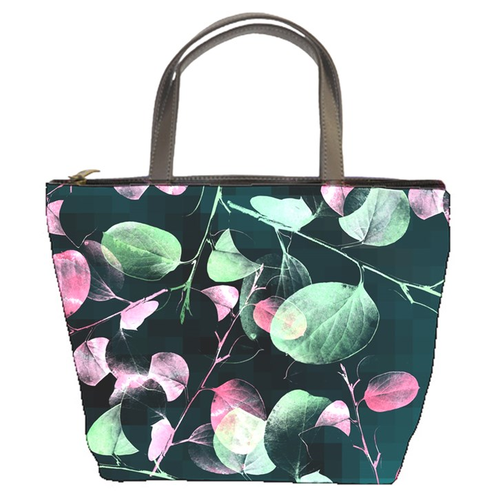Modern Green And Pink Leaves Bucket Bags