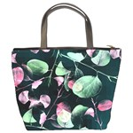 Modern Green And Pink Leaves Bucket Bags Back